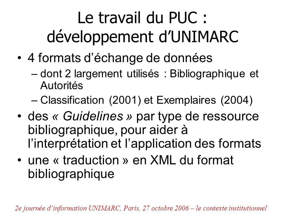 Le travail du PUC : développement d'UNIMARC