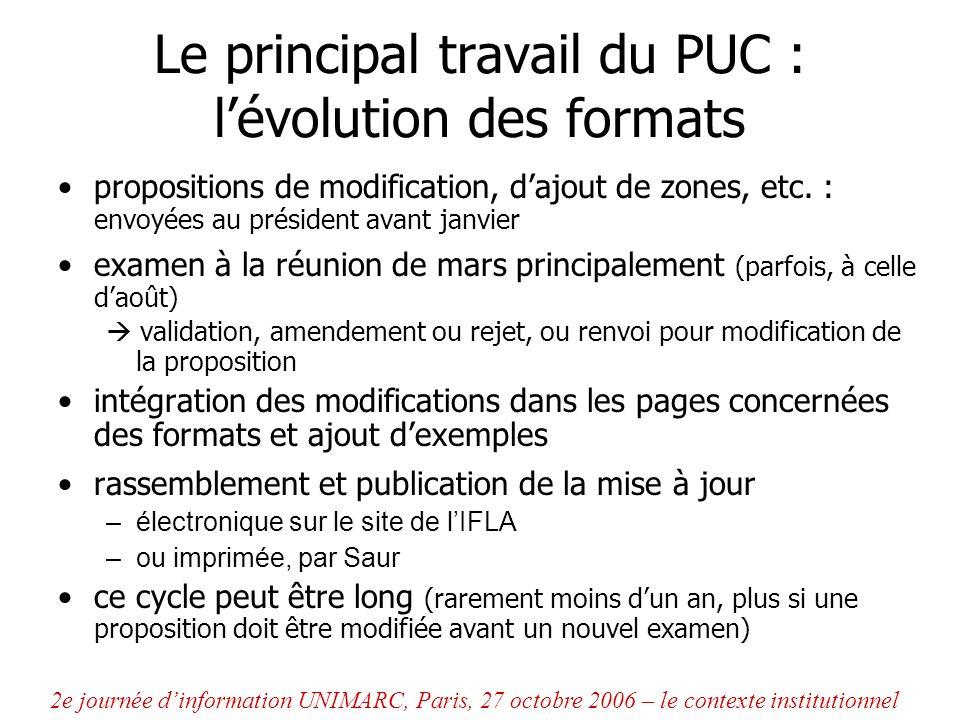Le principal travail du PUC : l'évolution des formats
