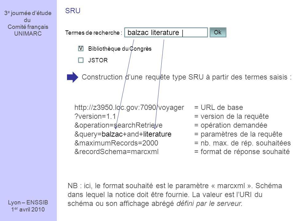 Construction d'une requête type SRU à partir des termes saisis :