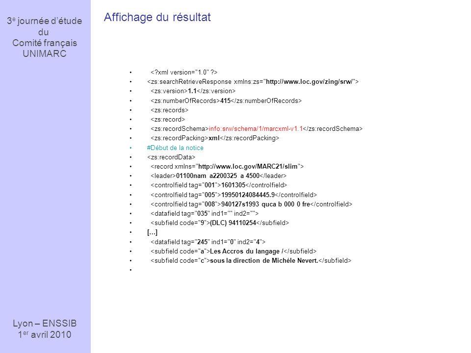 Affichage du résultat 3e journée d'étude du Comité français UNIMARC