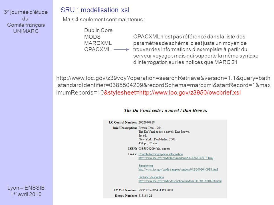 3e journée d'étude du. Comité français. UNIMARC. Lyon – ENSSIB. 1er avril 2010. SRU : modélisation xsl.