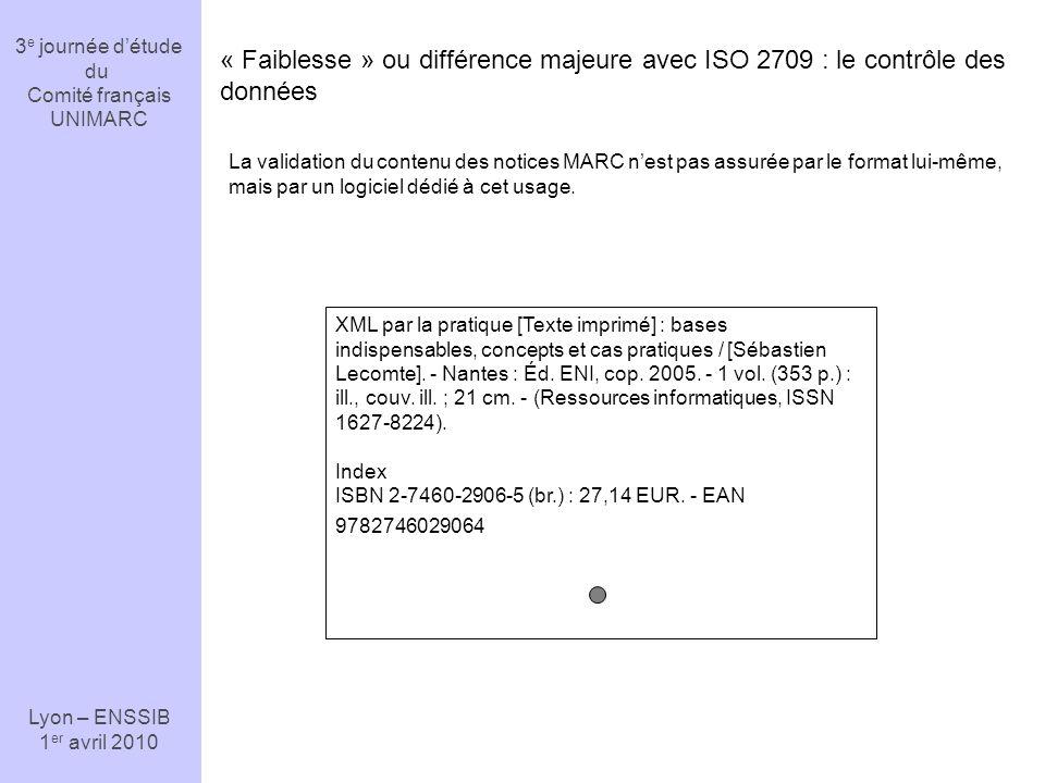 3e journée d'étude du. Comité français. UNIMARC. Lyon – ENSSIB. 1er avril 2010.