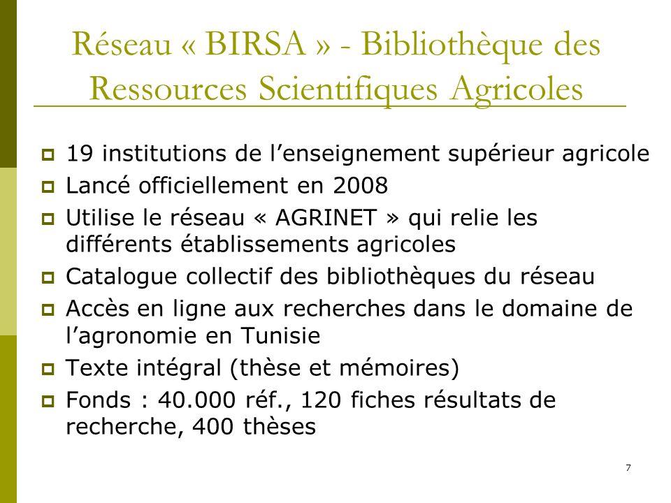 Réseau « BIRSA » - Bibliothèque des Ressources Scientifiques Agricoles