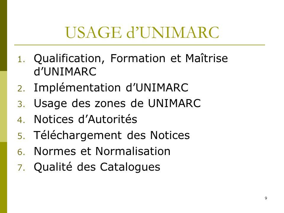 USAGE d'UNIMARC Qualification, Formation et Maîtrise d'UNIMARC