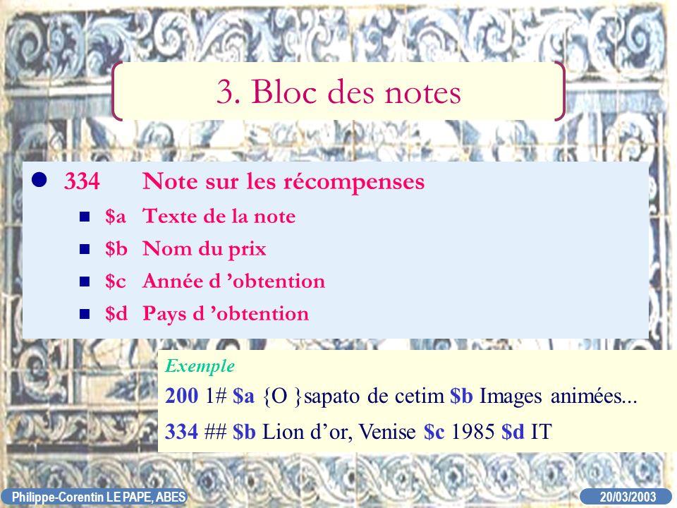 3. Bloc des notes 334 Note sur les récompenses $a Texte de la note