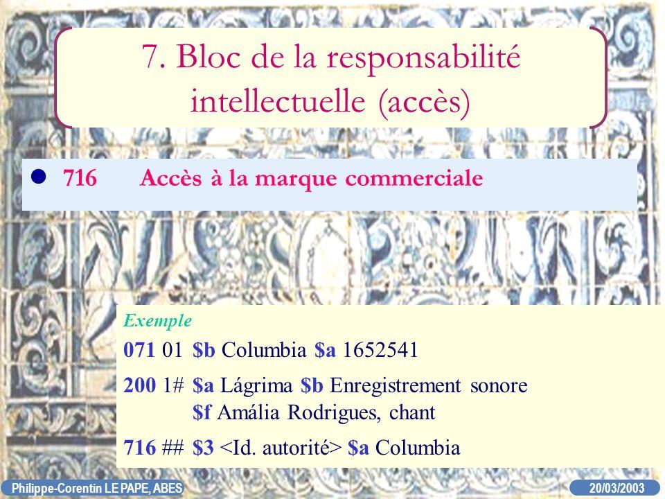 7. Bloc de la responsabilité intellectuelle (accès)