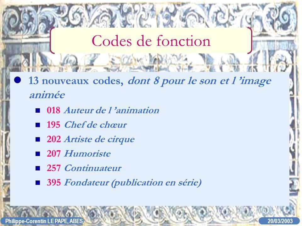 Codes de fonction 13 nouveaux codes, dont 8 pour le son et l 'image animée. 018 Auteur de l 'animation.