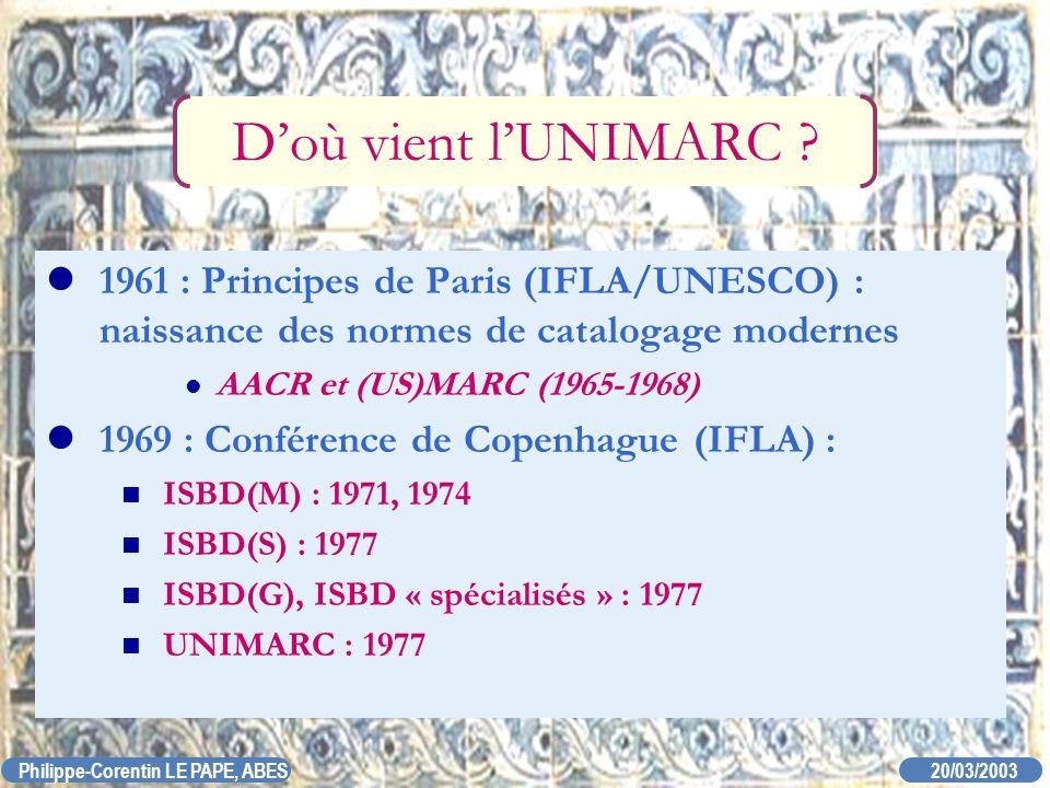 D'où vient l'UNIMARC 1961 : Principes de Paris (IFLA/UNESCO) : naissance des normes de catalogage modernes.