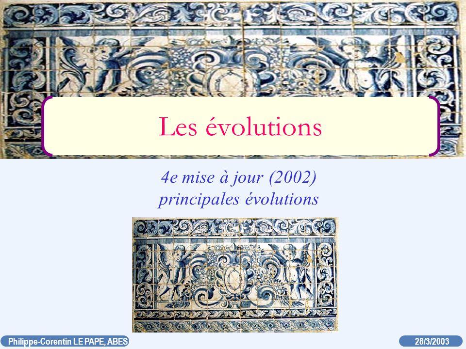 4e mise à jour (2002) principales évolutions