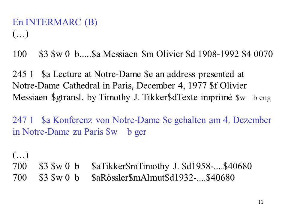 100 $3 $w 0 b.....$a Messiaen $m Olivier $d 1908-1992 $4 0070