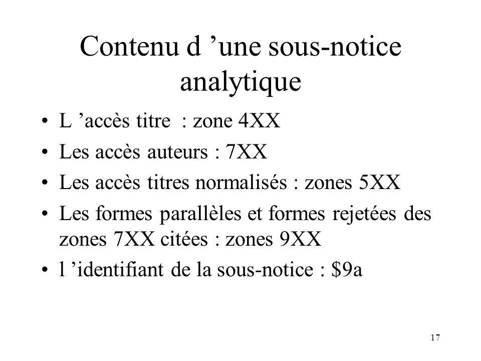 Contenu d 'une sous-notice analytique