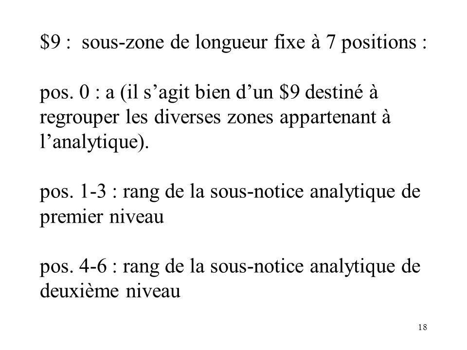 $9 : sous-zone de longueur fixe à 7 positions :. pos
