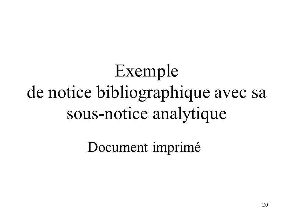 Exemple de notice bibliographique avec sa sous-notice analytique