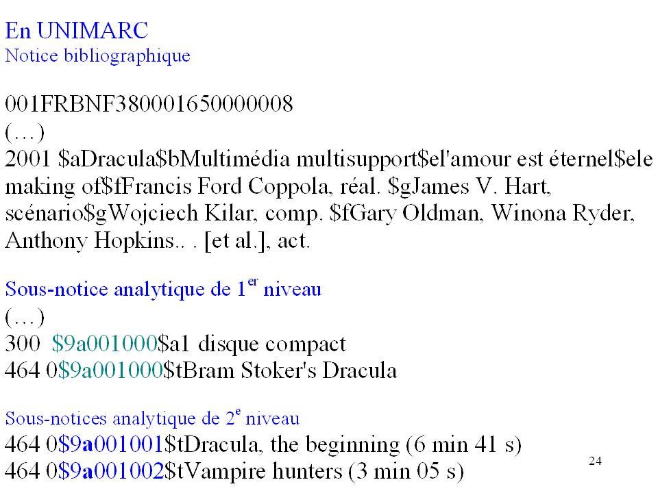 En UNIMARC : catalogage à niveau. $9a 001 et 001