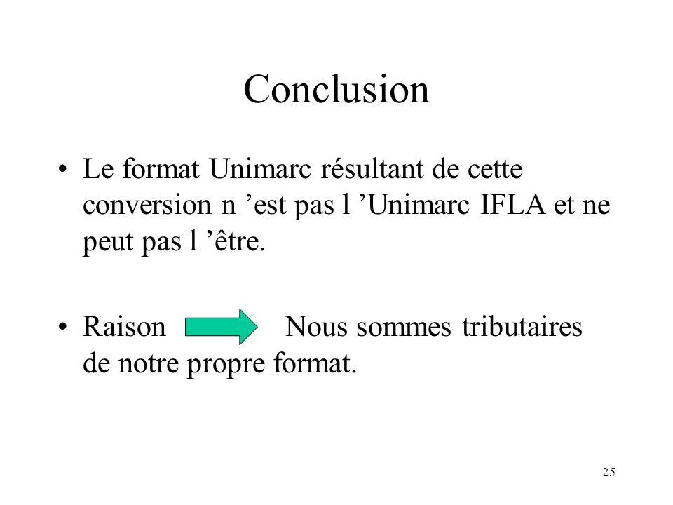 Conclusion Le format Unimarc résultant de cette conversion n 'est pas l 'Unimarc IFLA et ne peut pas l 'être.