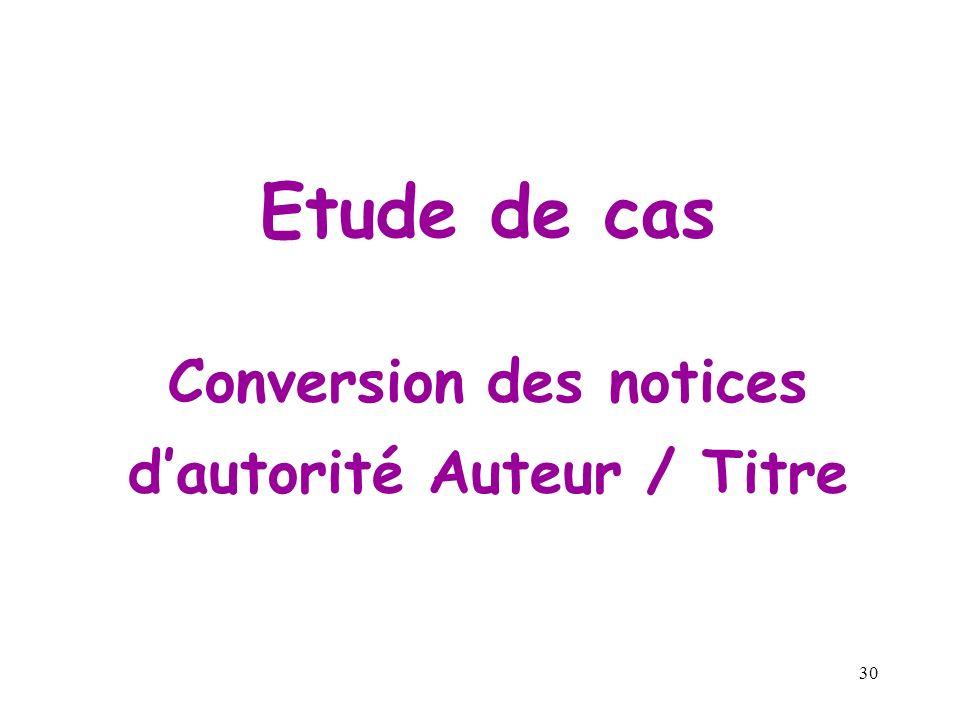 Conversion des notices d'autorité Auteur / Titre