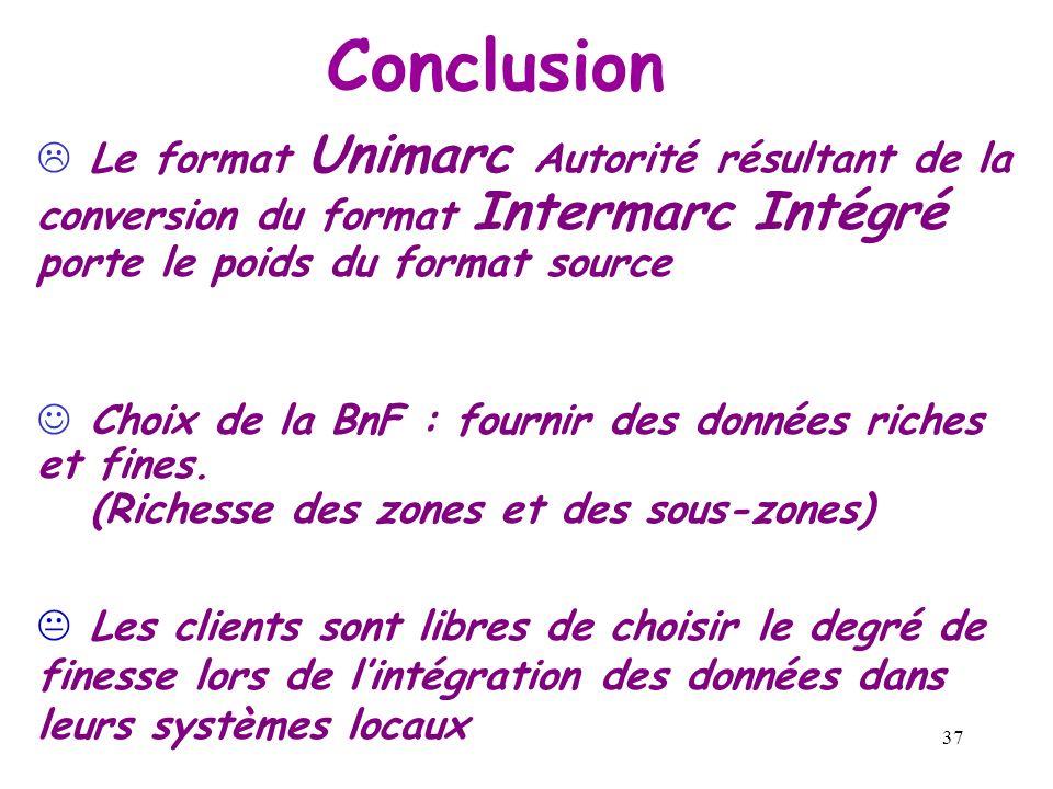 Conclusion Le format Unimarc Autorité résultant de la conversion du format Intermarc Intégré porte le poids du format source.