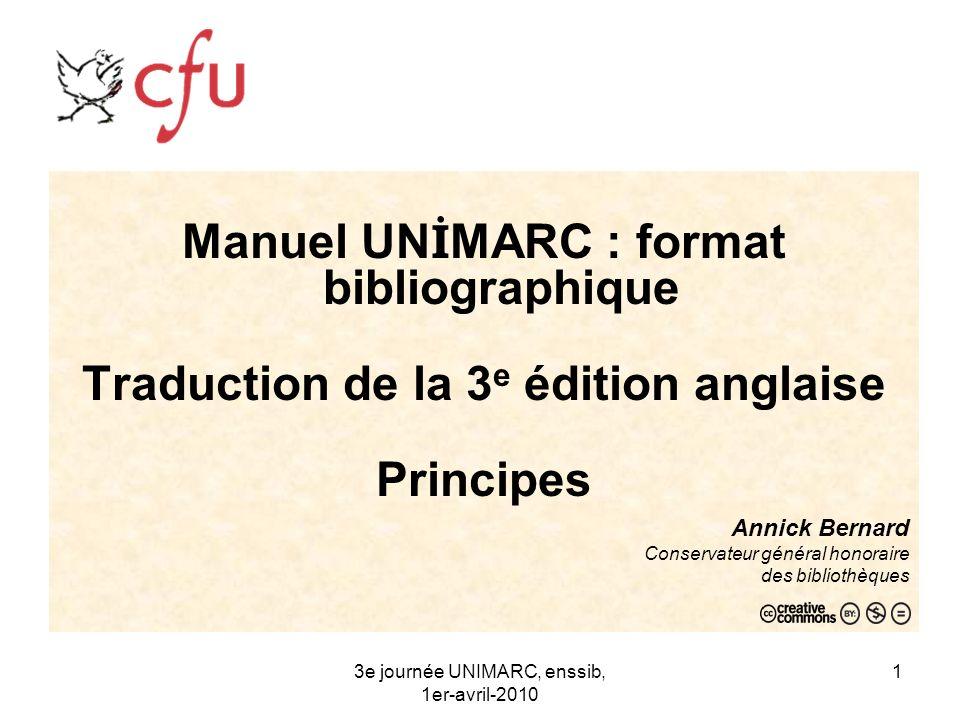 Manuel UNİMARC : format bibliographique