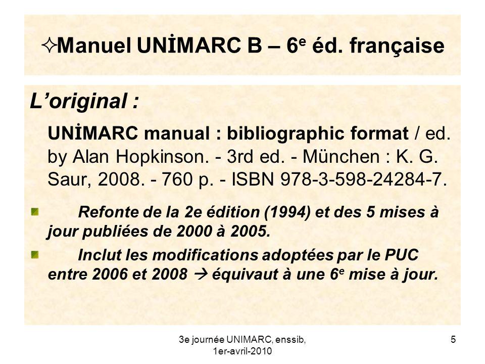 Manuel UNİMARC B – 6e éd. française