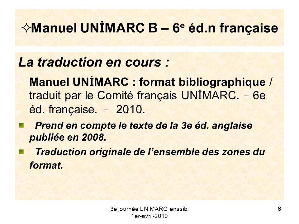 Manuel UNİMARC B – 6e éd.n française