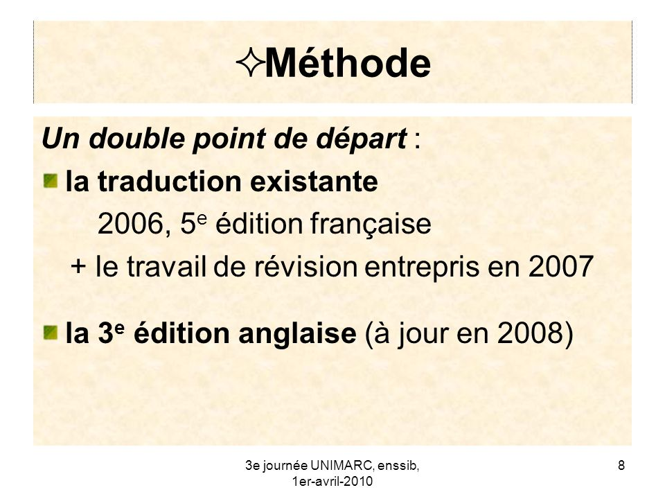 Méthode Un double point de départ : la traduction existante