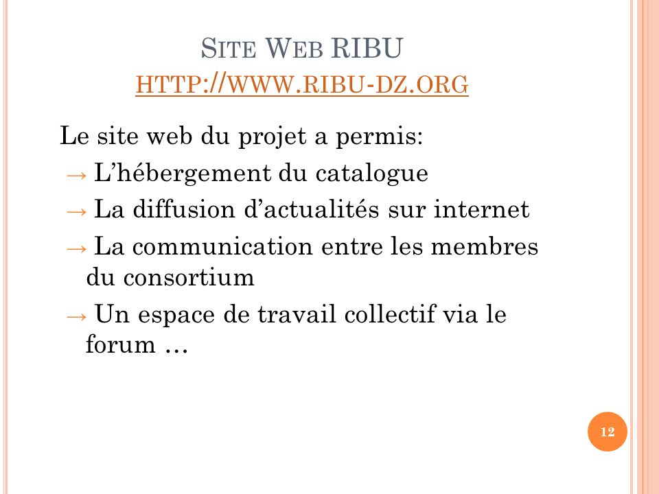 Site Web RIBU http://www.ribu-dz.org