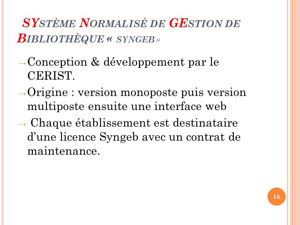 SYstème Normalisé de GEstion de Bibliothèque « SYNGEB »