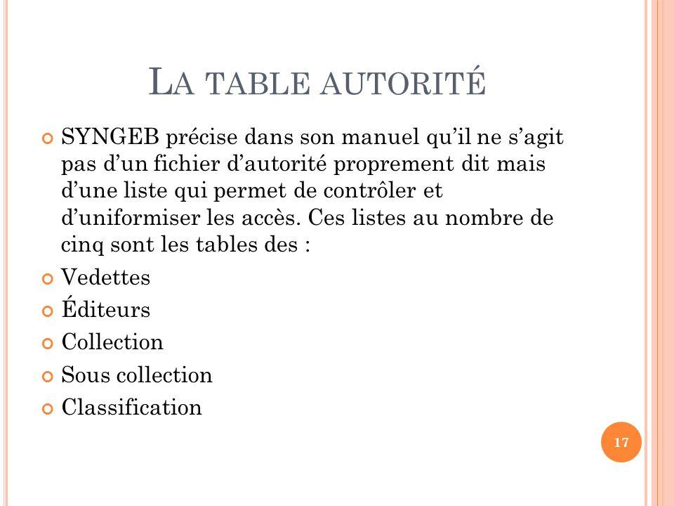 La table autorité