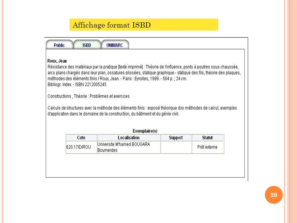Affichage format ISBD
