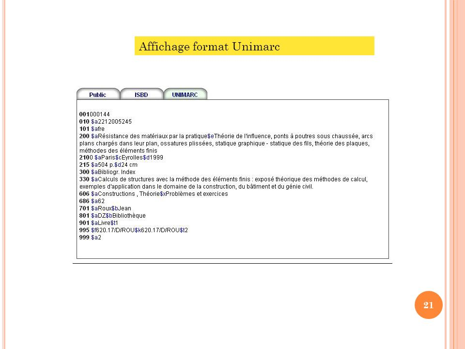 Affichage format Unimarc