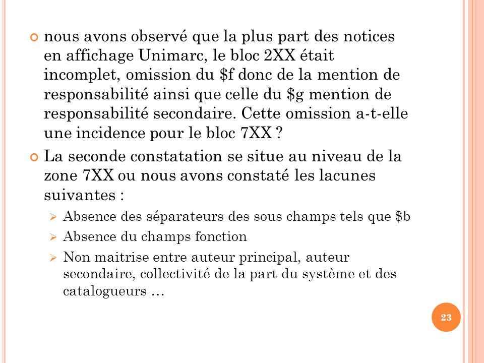 nous avons observé que la plus part des notices en affichage Unimarc, le bloc 2XX était incomplet, omission du $f donc de la mention de responsabilité ainsi que celle du $g mention de responsabilité secondaire. Cette omission a-t-elle une incidence pour le bloc 7XX
