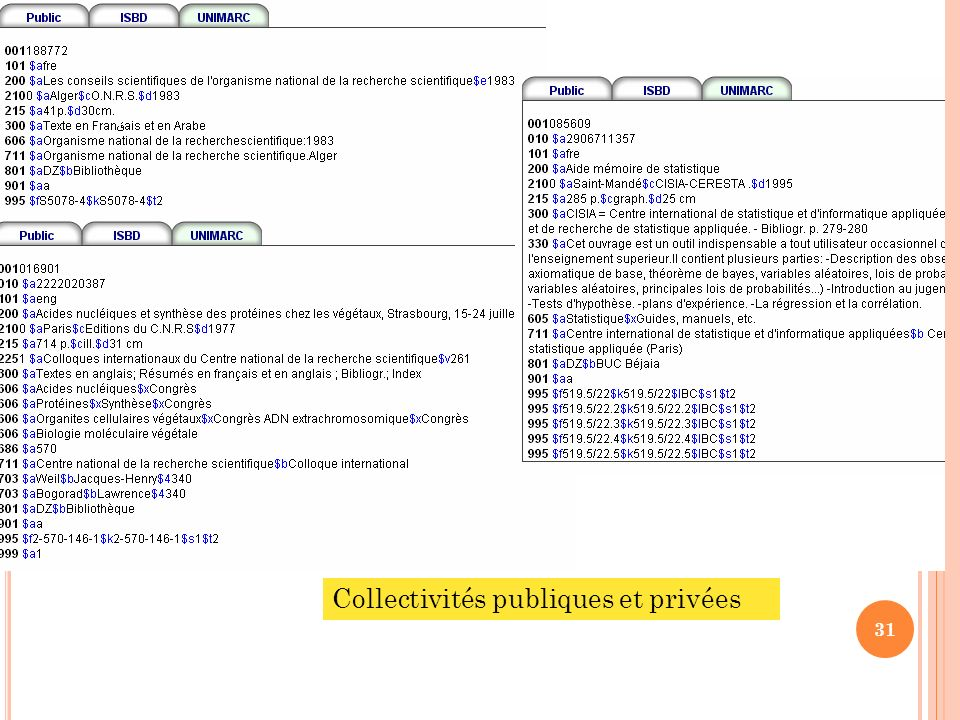 Collectivités publiques et privées