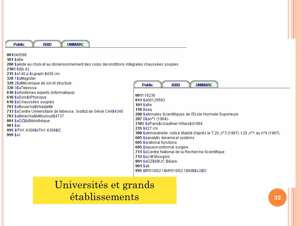 Universités et grands établissements