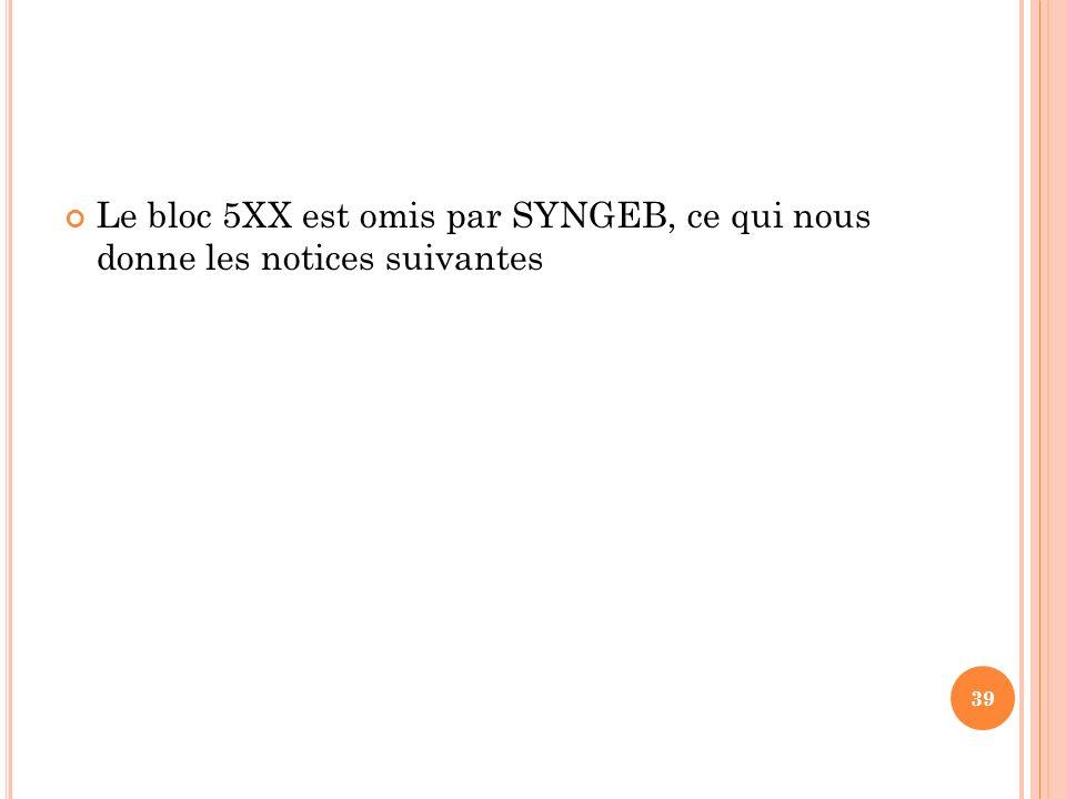 Le bloc 5XX est omis par SYNGEB, ce qui nous donne les notices suivantes