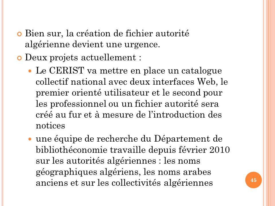 Bien sur, la création de fichier autorité algérienne devient une urgence.