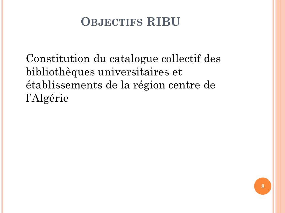 Objectifs RIBUConstitution du catalogue collectif des bibliothèques universitaires et établissements de la région centre de l'Algérie.