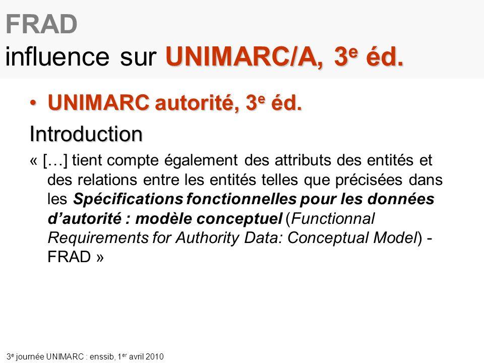 FRAD influence sur UNIMARC/A, 3e éd.