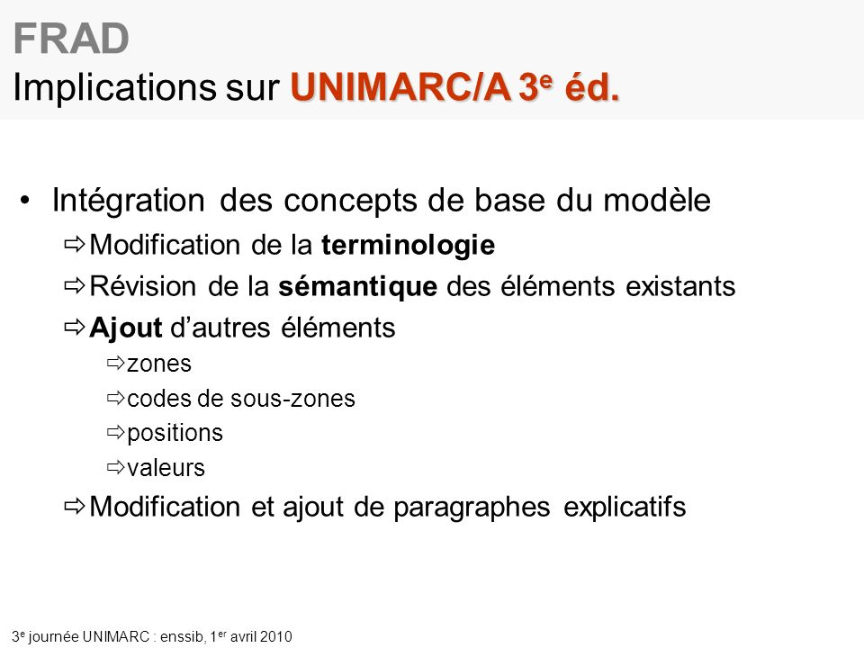 FRAD Implications sur UNIMARC/A 3e éd.