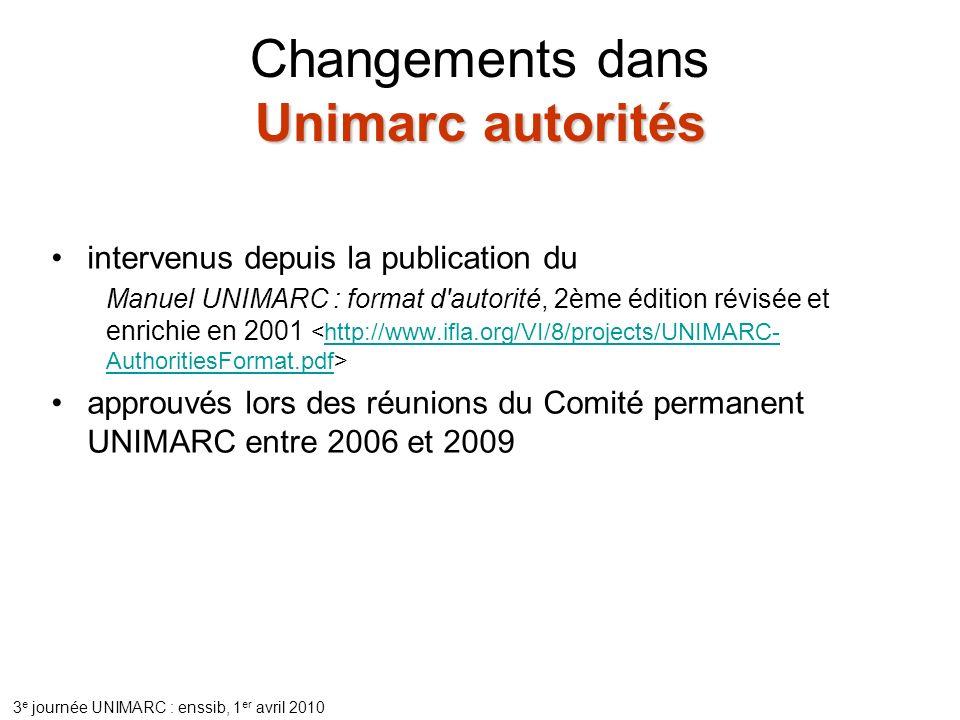 Changements dans Unimarc autorités