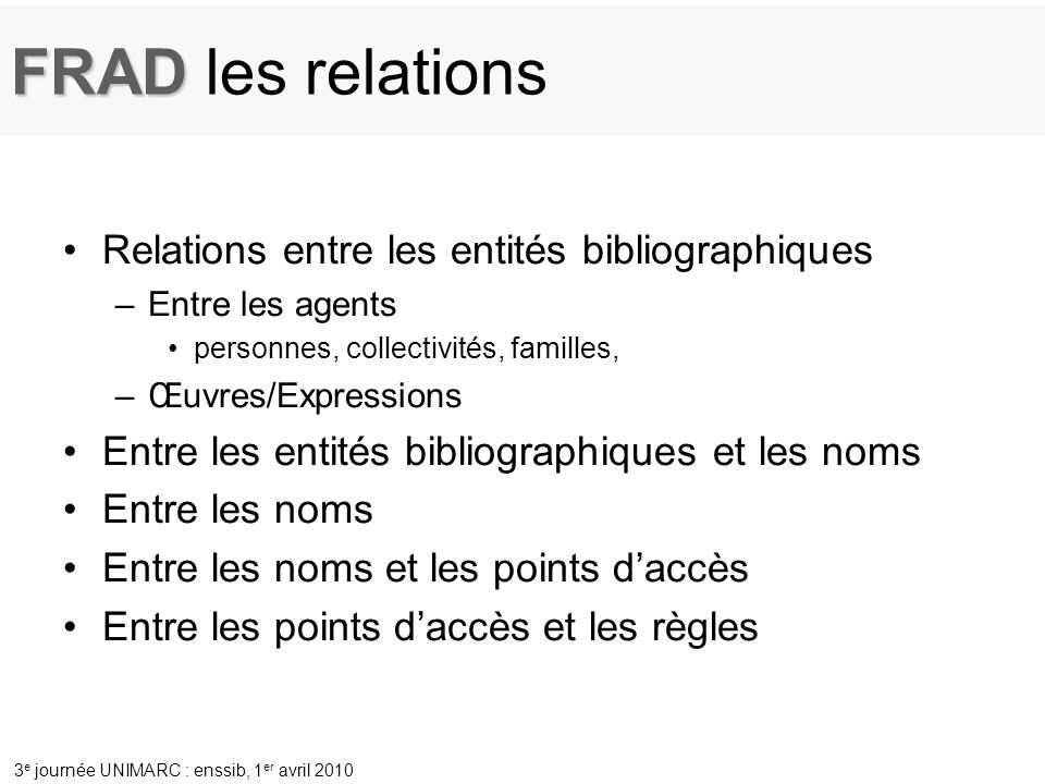 FRAD les relations Relations entre les entités bibliographiques