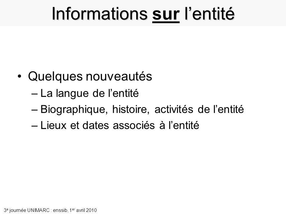 Informations sur l'entité