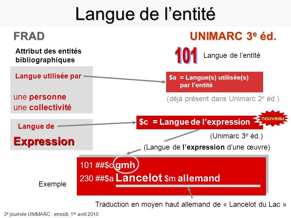 Langue de l'entité 101 FRAD UNIMARC 3e éd. Expression une personne