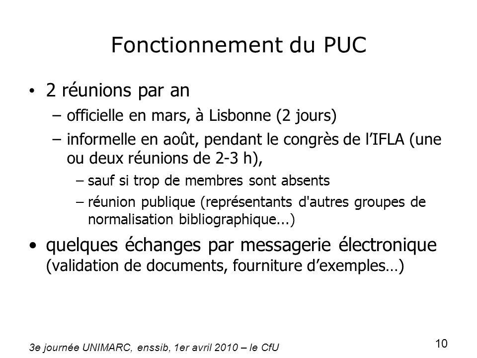Fonctionnement du PUC 2 réunions par an