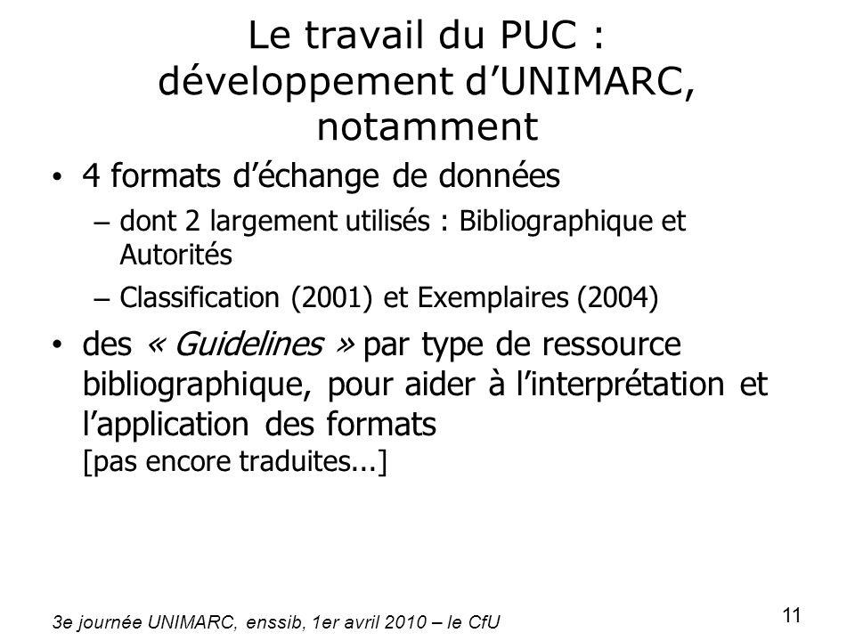 Le travail du PUC : développement d'UNIMARC, notamment