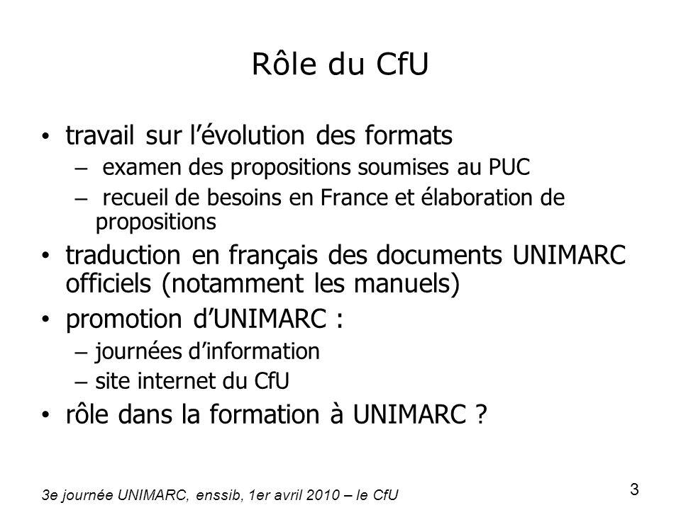 Rôle du CfU travail sur l'évolution des formats