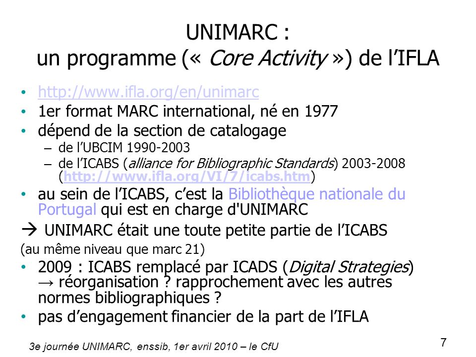 UNIMARC : un programme (« Core Activity ») de l'IFLA