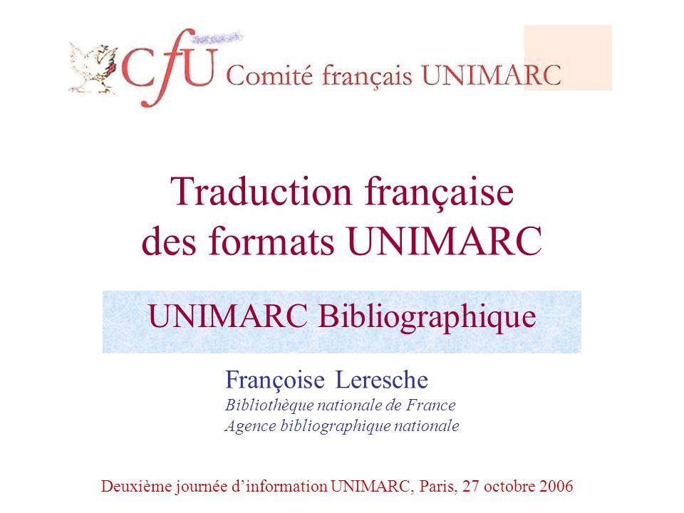 Traduction française des formats UNIMARC