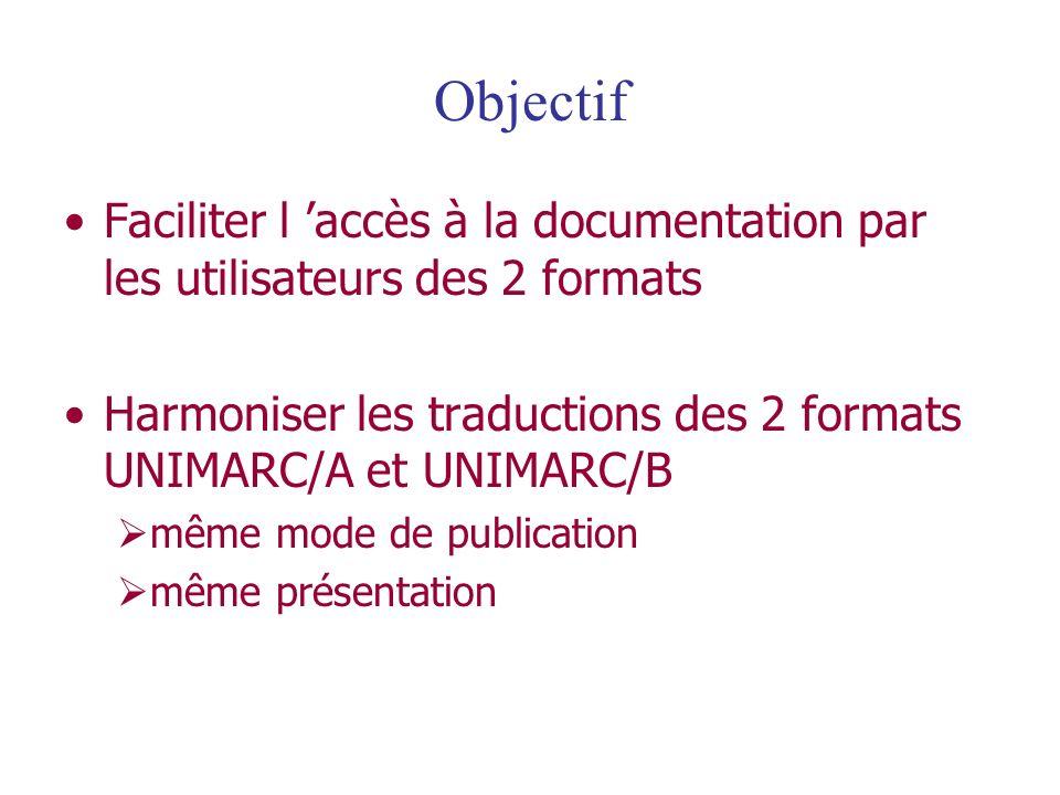 Objectif Faciliter l 'accès à la documentation par les utilisateurs des 2 formats. Harmoniser les traductions des 2 formats UNIMARC/A et UNIMARC/B.