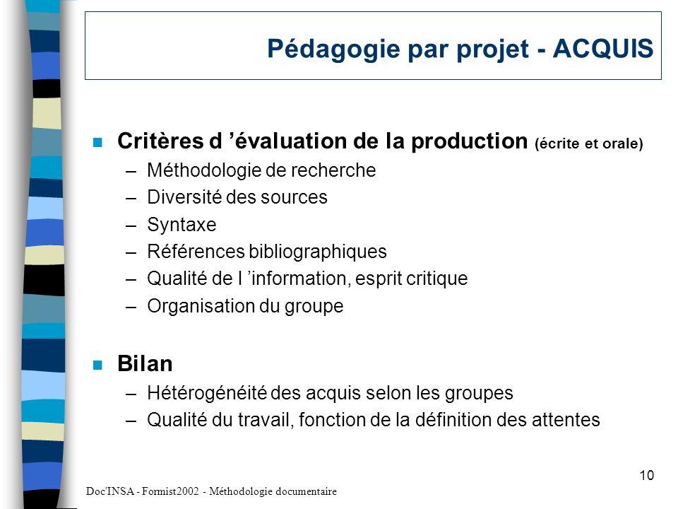 Pédagogie par projet - ACQUIS