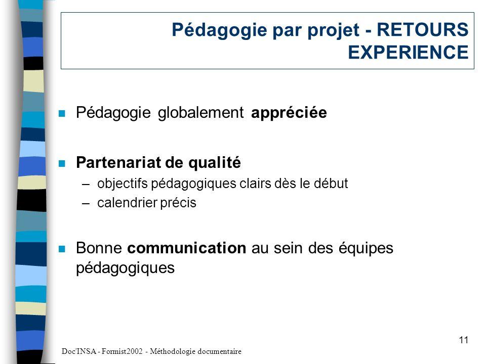 Pédagogie par projet - RETOURS EXPERIENCE